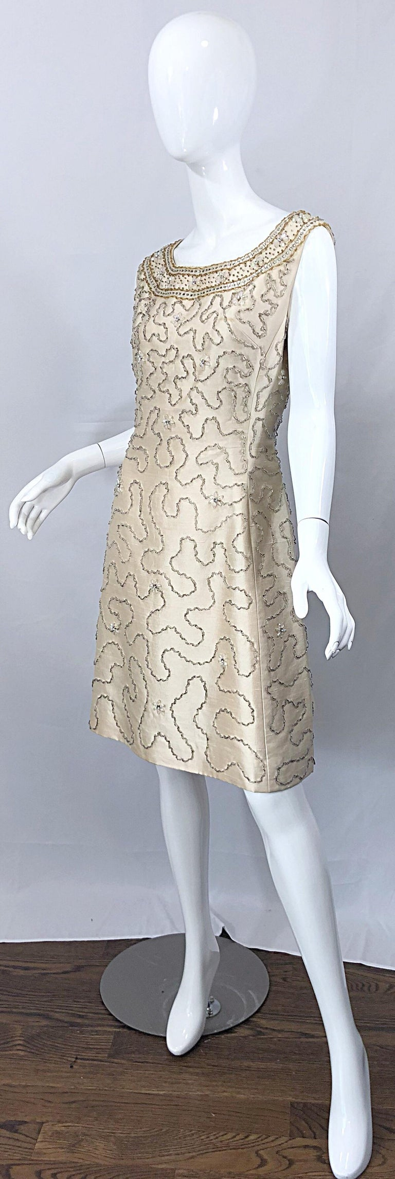 Gorgeous 1960s Jean Lutece Ivory Silk Beaded Two Piece 60s A Line Dress + Jacket For Sale 7
