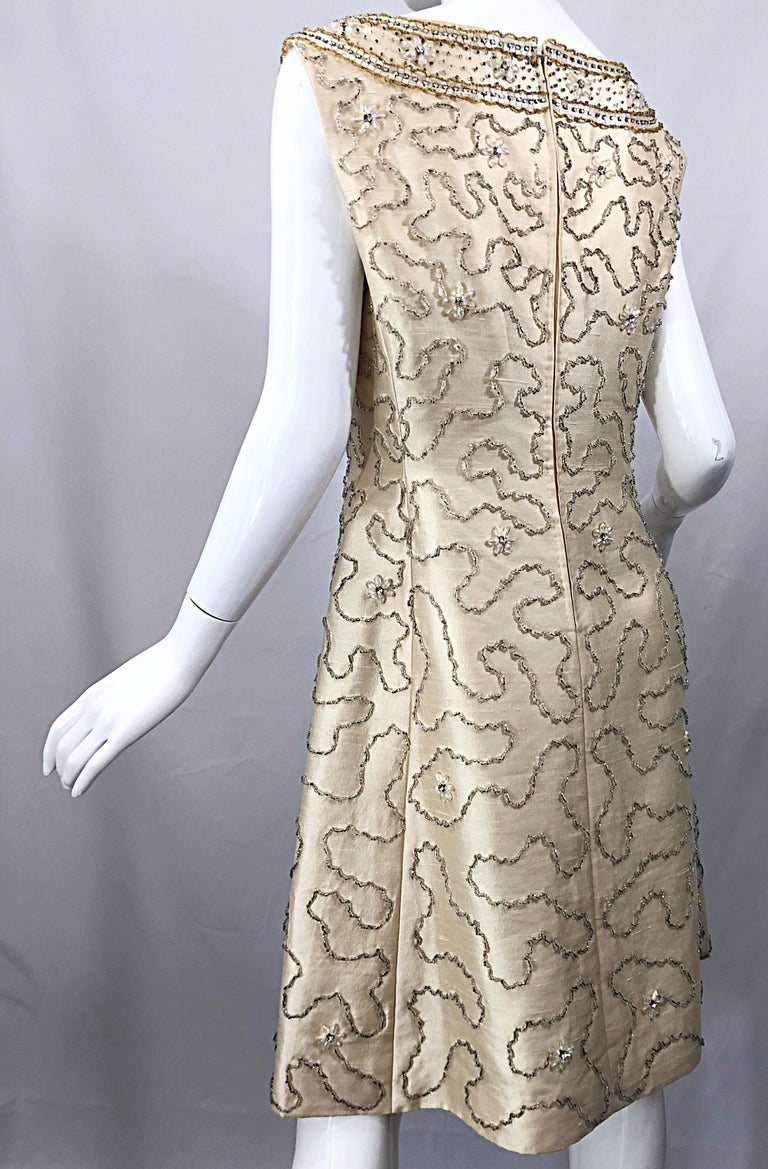Gorgeous 1960s Jean Lutece Ivory Silk Beaded Two Piece 60s A Line Dress + Jacket For Sale 10