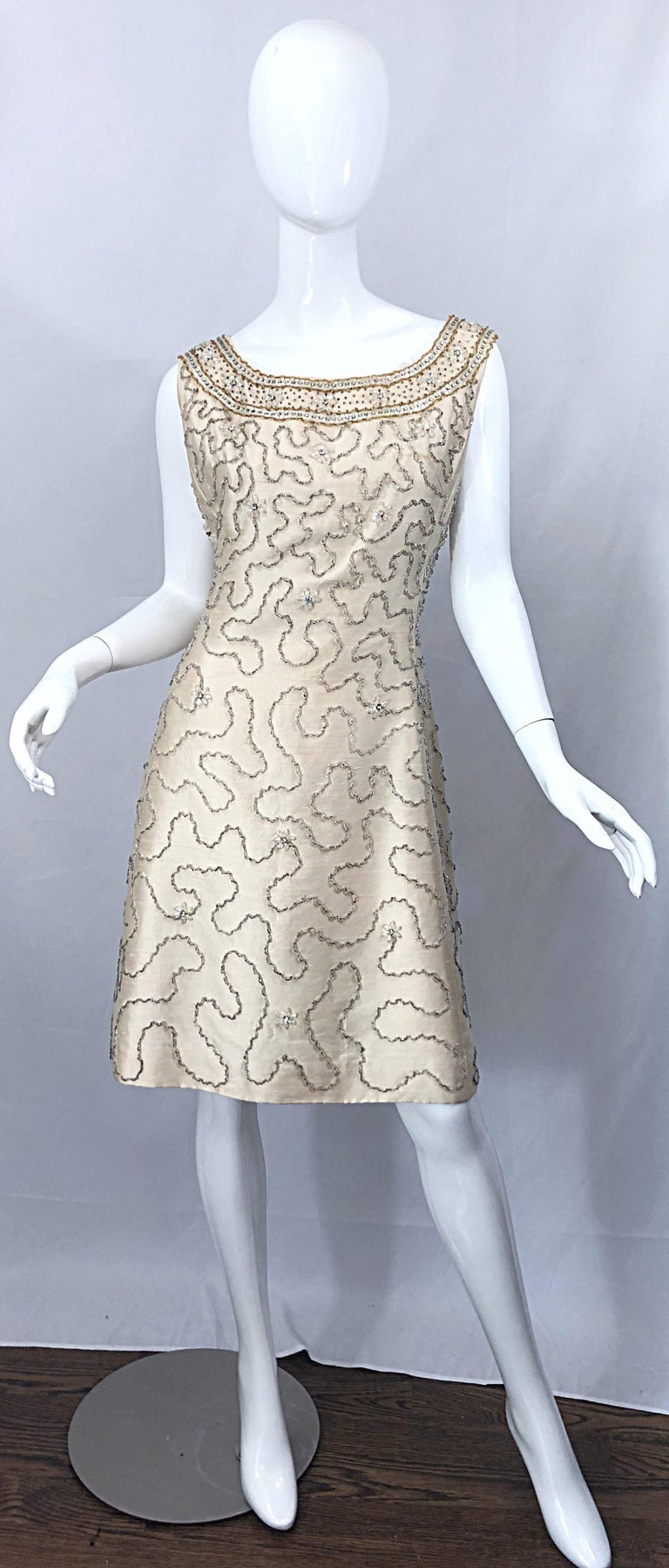 Gorgeous 1960s Jean Lutece Ivory Silk Beaded Two Piece 60s A Line Dress + Jacket For Sale 11
