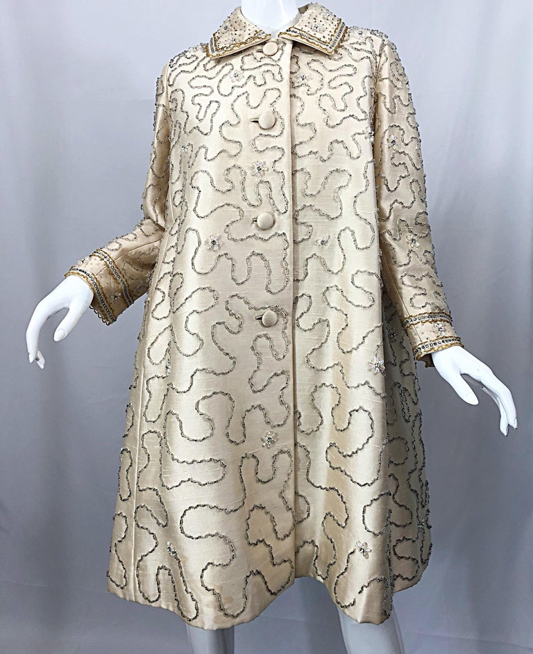 Gorgeous 1960s Jean Lutece Ivory Silk Beaded Two Piece 60s A Line Dress + Jacket For Sale 14