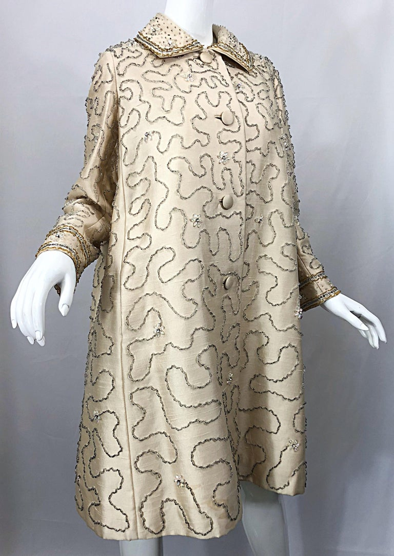Gorgeous 1960s Jean Lutece Ivory Silk Beaded Two Piece 60s A Line Dress + Jacket For Sale 12