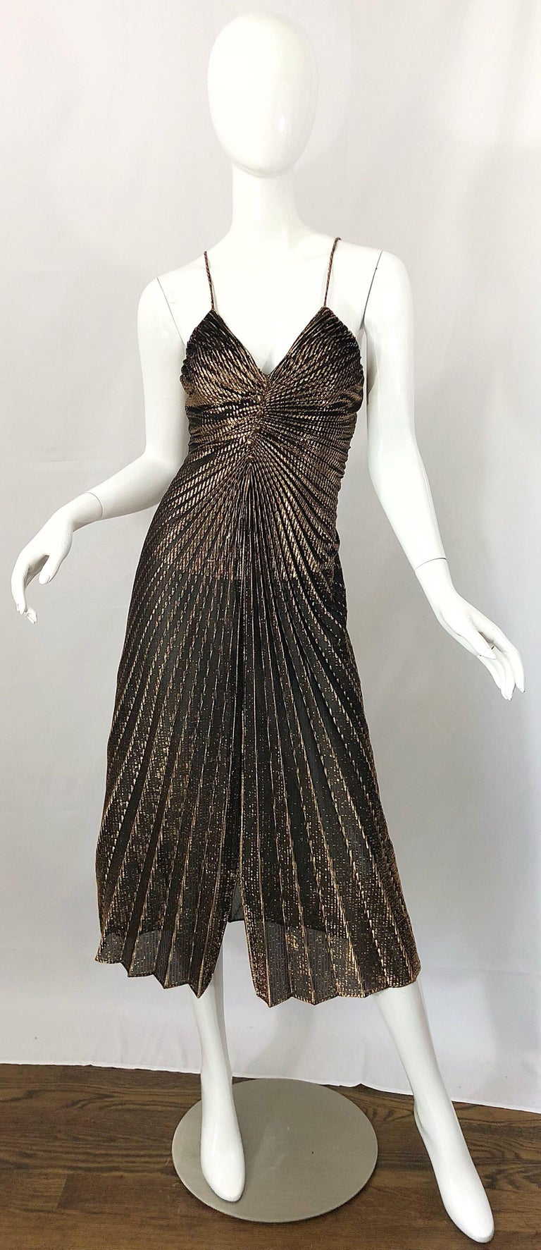 Amazing 1970s Gold Bronze Slinky Pleated Vintage 70s Disco