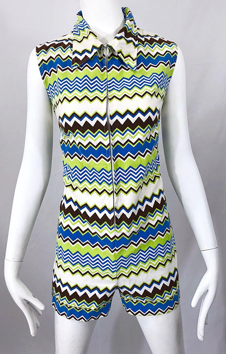 Women's Chic 1970s Missoni Style Zig Zag Sleeveless Vintage 70s Cotton One Piece Romper For Sale