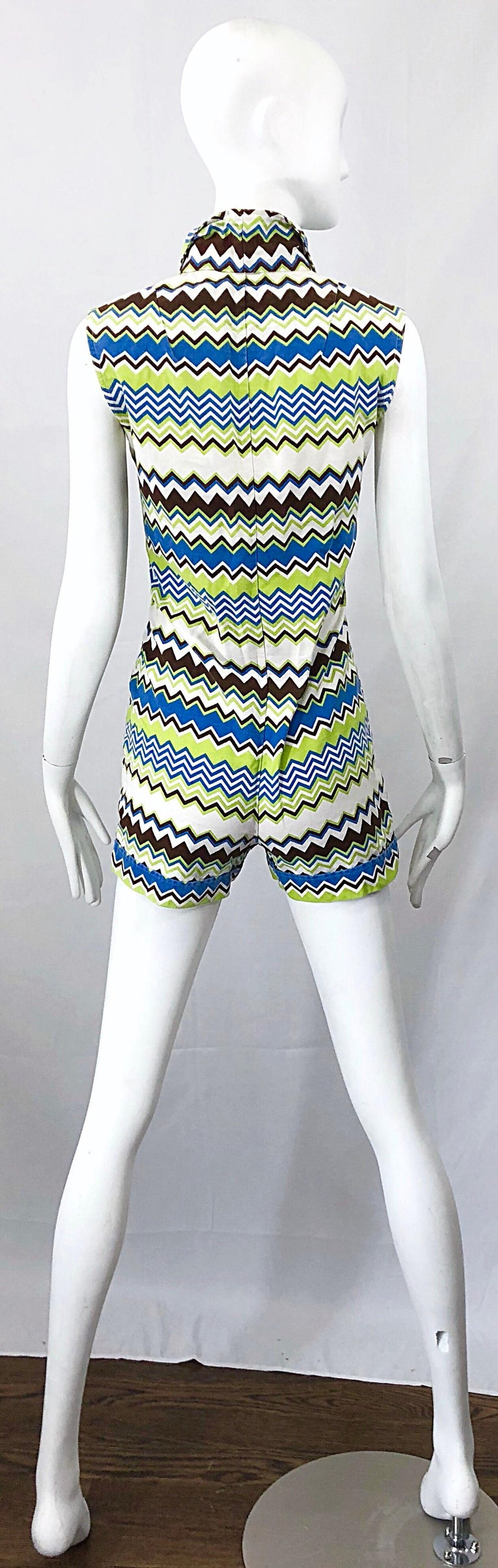 Chic 1970s Missoni Style Zig Zag Sleeveless Vintage 70s Cotton One Piece Romper For Sale 1