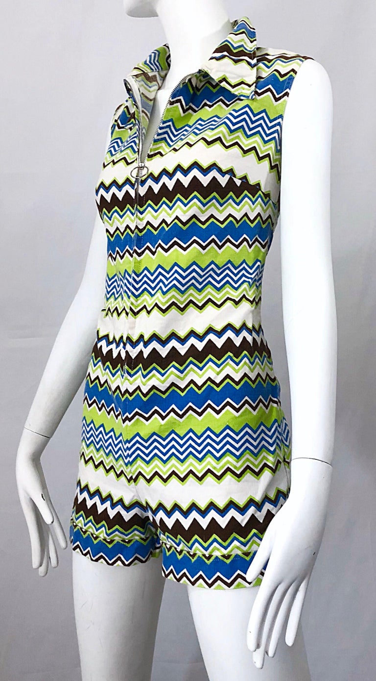 Chic 1970s Missoni Style Zig Zag Sleeveless Vintage 70s Cotton One Piece Romper For Sale 4