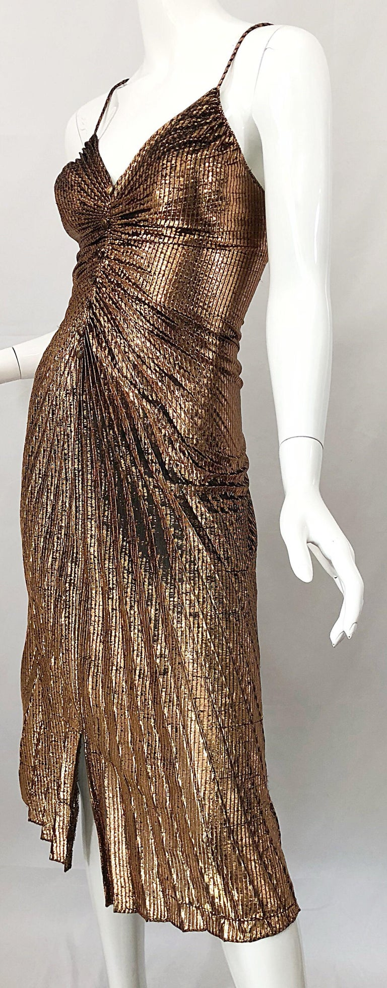 1970s Samir Sexy Golden Bronze Pleated Disco Studio 54 Slinky Vintage 70s Dress In Excellent Condition For Sale In Chicago, IL
