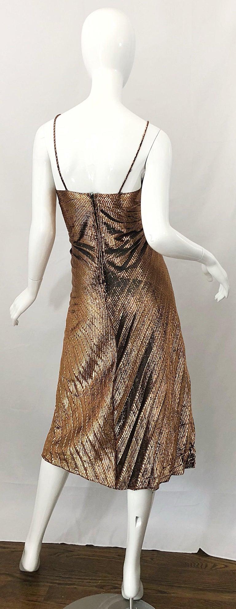 Women's 1970s Samir Sexy Golden Bronze Pleated Disco Studio 54 Slinky Vintage 70s Dress For Sale