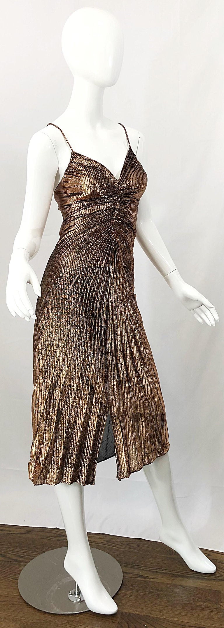 1970s Samir Sexy Golden Bronze Pleated Disco Studio 54 Slinky Vintage 70s Dress For Sale 1
