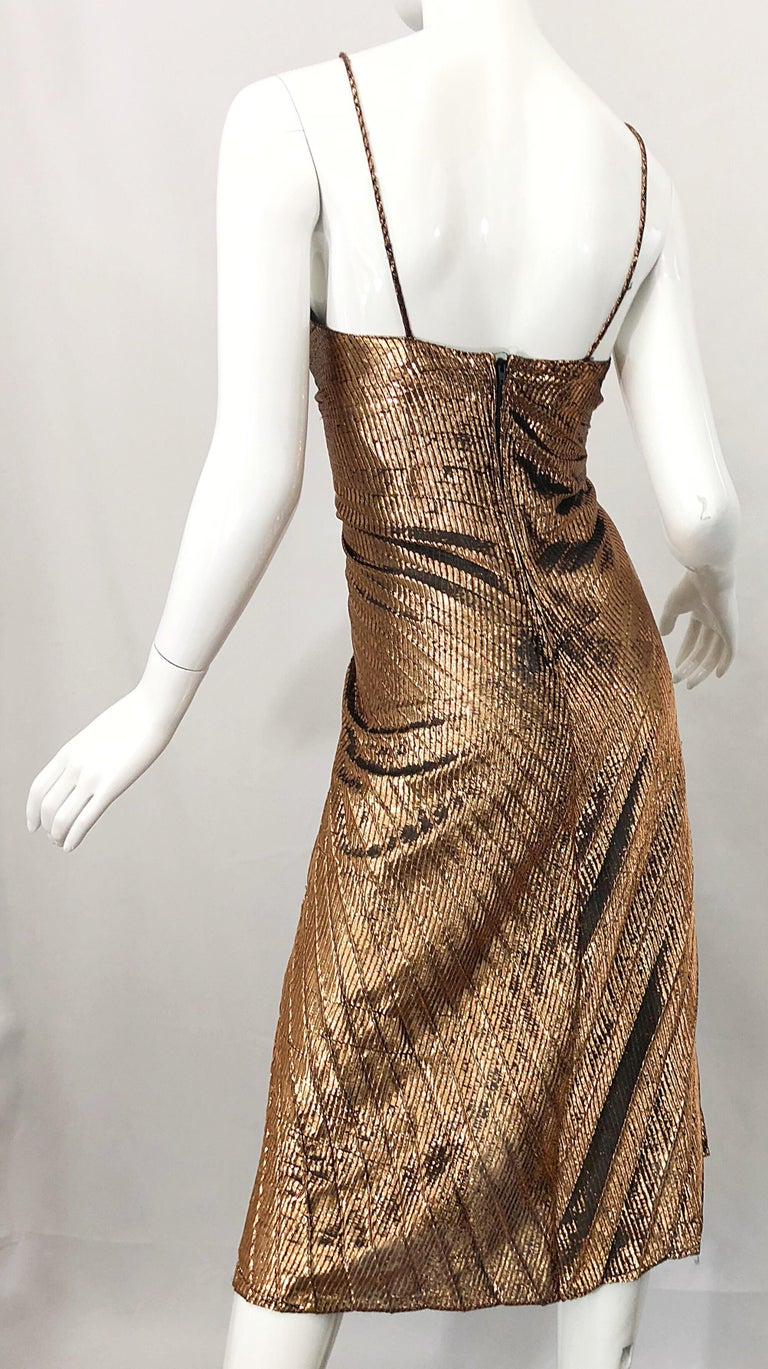 1970s Samir Sexy Golden Bronze Pleated Disco Studio 54 Slinky Vintage 70s Dress For Sale 2