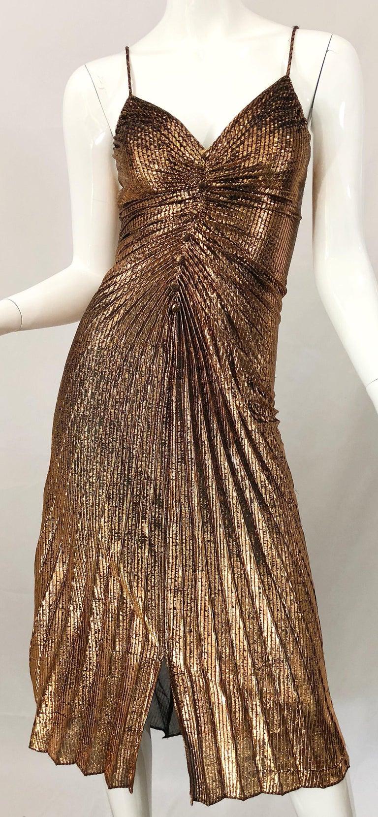 1970s Samir Sexy Golden Bronze Pleated Disco Studio 54 Slinky Vintage 70s Dress For Sale 3