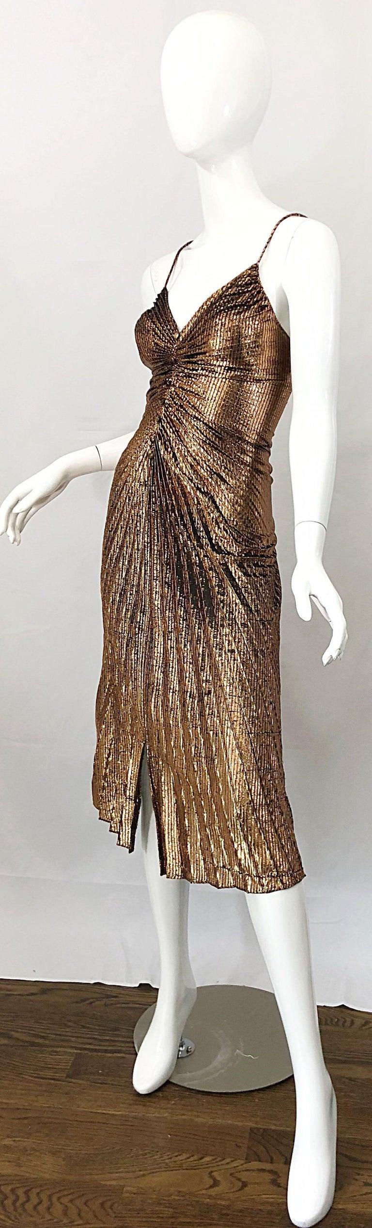 1970s Samir Sexy Golden Bronze Pleated Disco Studio 54 Slinky Vintage 70s Dress For Sale 4