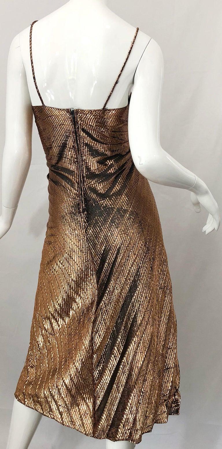 1970s Samir Sexy Golden Bronze Pleated Disco Studio 54 Slinky Vintage 70s Dress For Sale 5