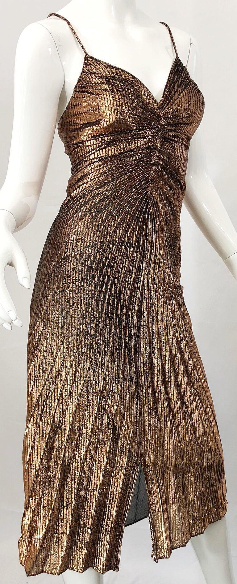 1970s Samir Sexy Golden Bronze Pleated Disco Studio 54 Slinky Vintage 70s Dress For Sale 6