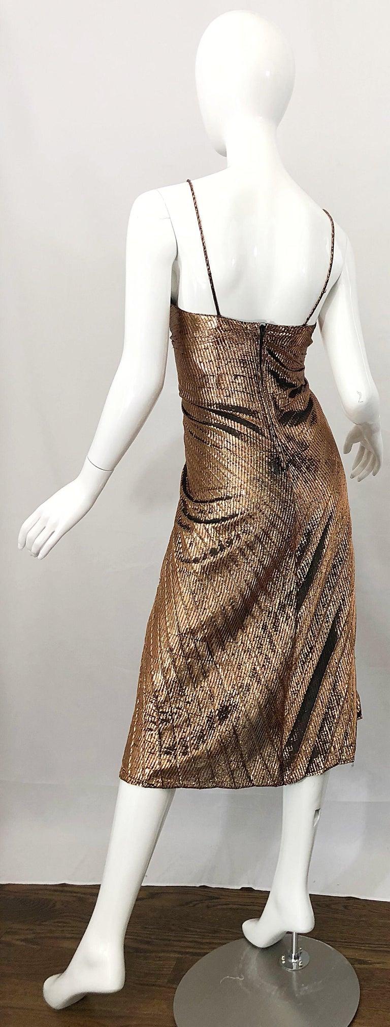 1970s Samir Sexy Golden Bronze Pleated Disco Studio 54 Slinky Vintage 70s Dress For Sale 7