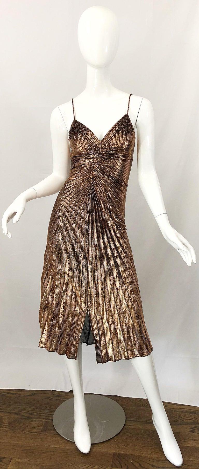 1970s Samir Sexy Golden Bronze Pleated Disco Studio 54 Slinky Vintage 70s Dress For Sale 8