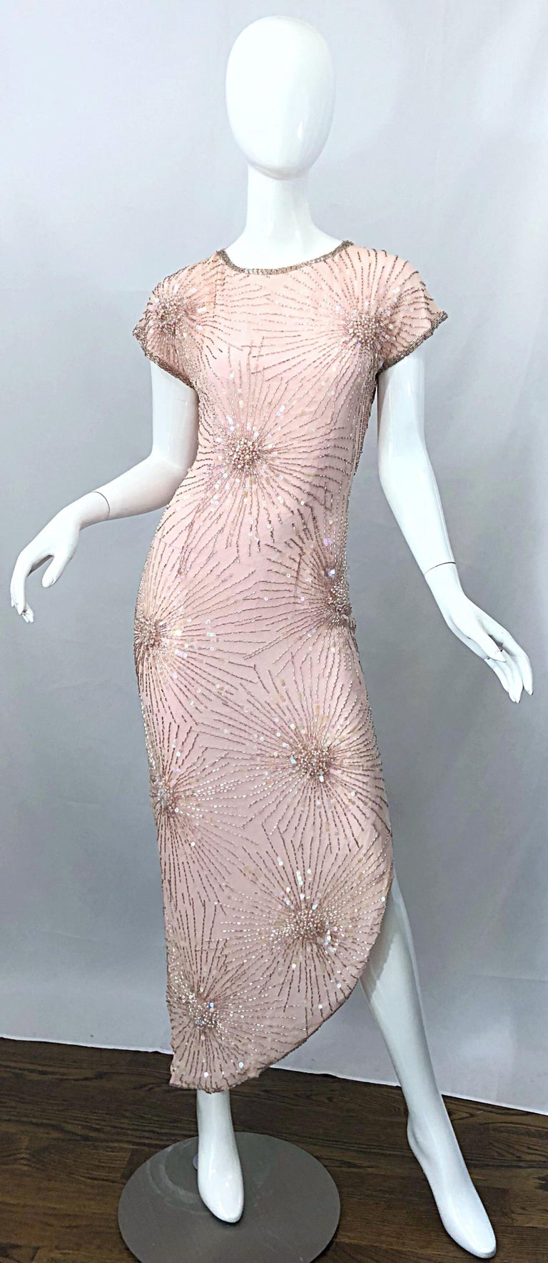 Gorgeous LILLIE RUBIN light pale pink silk chiffon beaded, sequined and pearl encrusted asymmetrical gown! Though no Halston, the Lillie Rubin boutique in Beverly Hills carried his pieces, and this is a dead ringer for his infamous 'fireworks'
