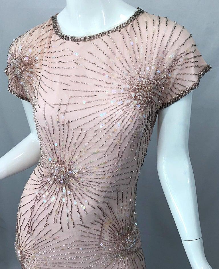 Gray Vintage 70s Lillie Rubin Firework Pale Pink Silk Bead Sequin Asymmetrical Dress For Sale