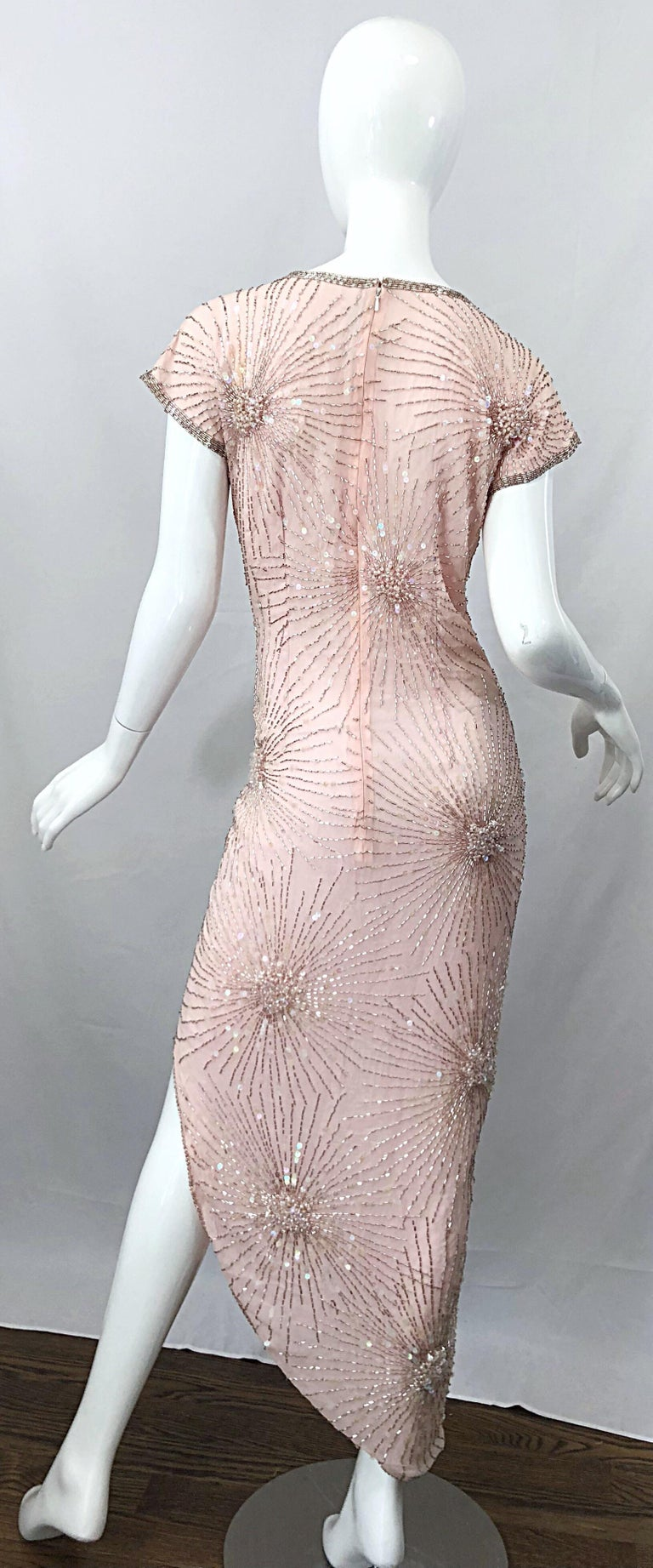 Vintage 70s Lillie Rubin Firework Pale Pink Silk Bead Sequin Asymmetrical Dress In Good Condition For Sale In Chicago, IL