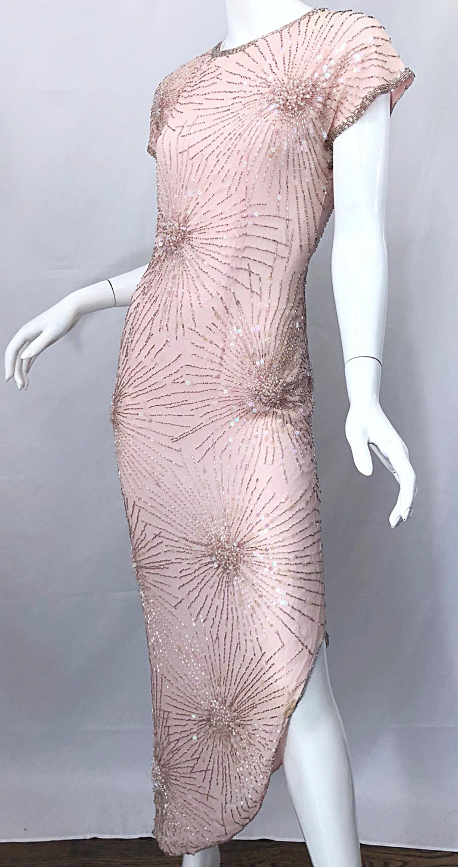 Women's Vintage 70s Lillie Rubin Firework Pale Pink Silk Bead Sequin Asymmetrical Dress For Sale