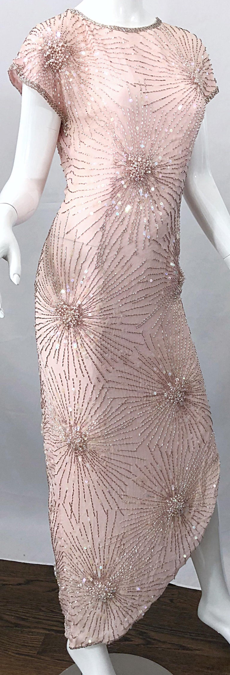 Vintage 70s Lillie Rubin Firework Pale Pink Silk Bead Sequin Asymmetrical Dress For Sale 1