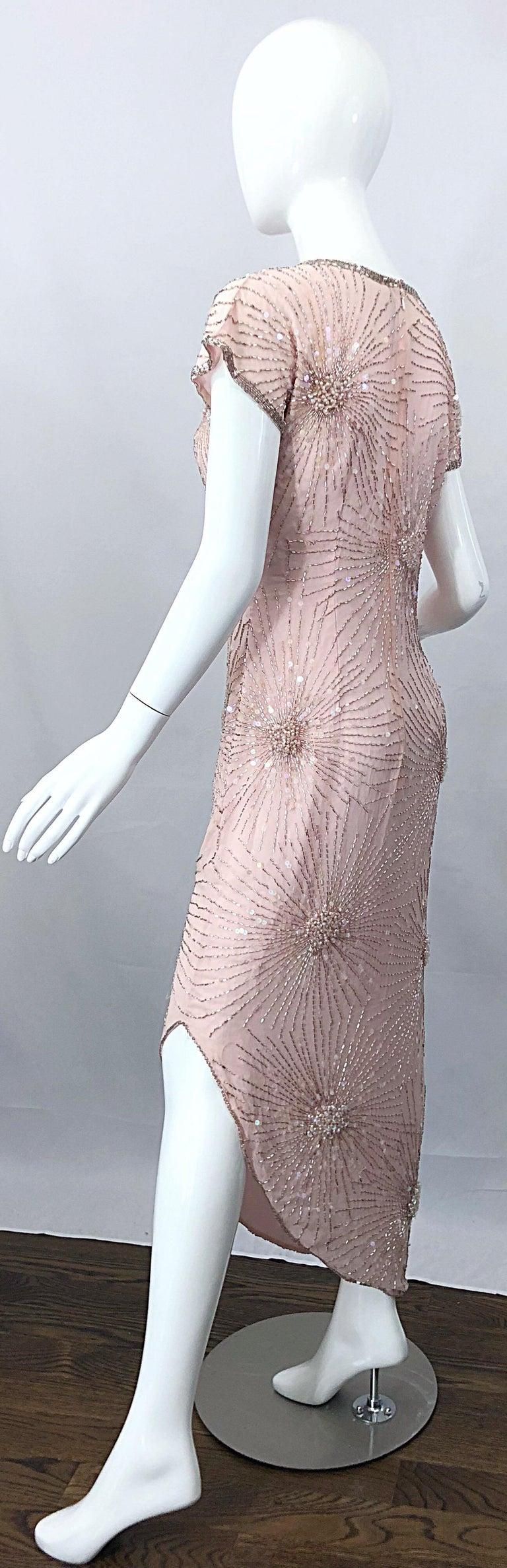 Vintage 70s Lillie Rubin Firework Pale Pink Silk Bead Sequin Asymmetrical Dress For Sale 2