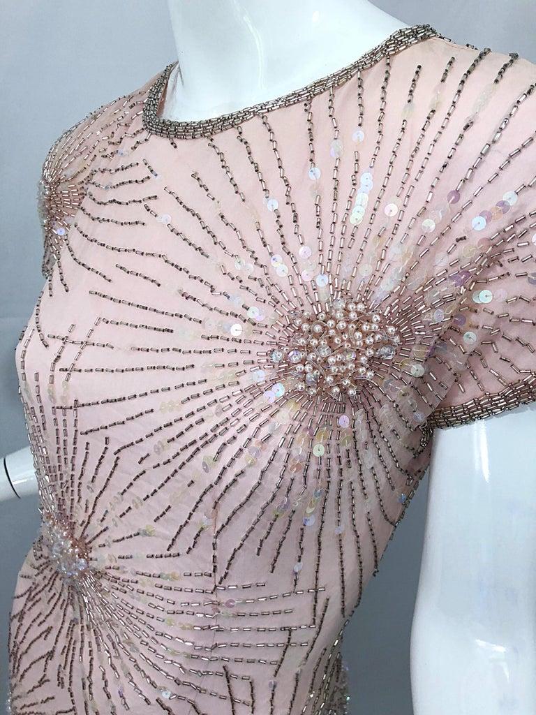 Vintage 70s Lillie Rubin Firework Pale Pink Silk Bead Sequin Asymmetrical Dress For Sale 3