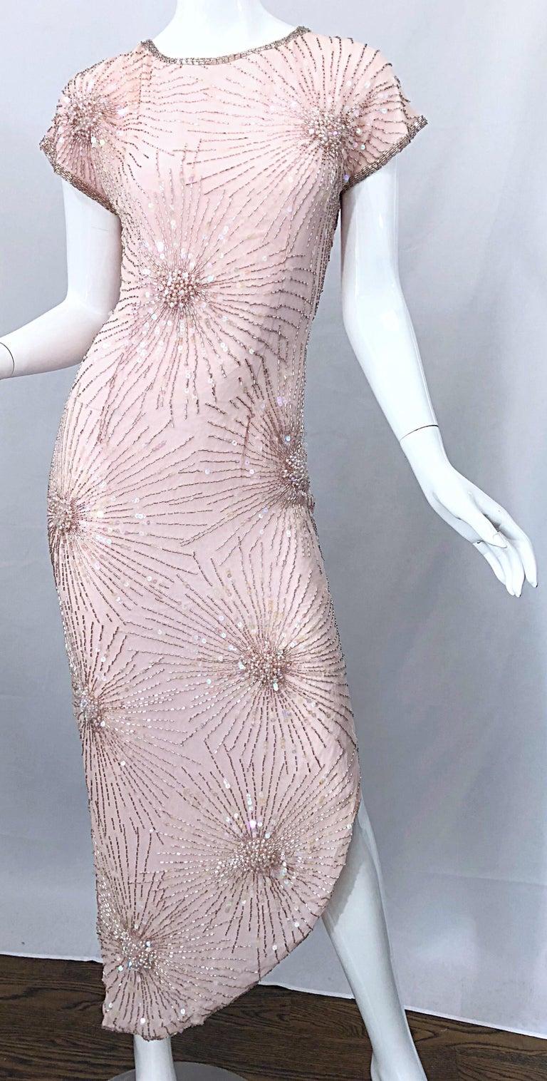 Vintage 70s Lillie Rubin Firework Pale Pink Silk Bead Sequin Asymmetrical Dress For Sale 4