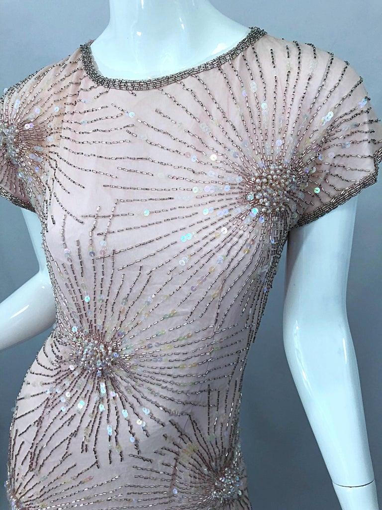 Vintage 70s Lillie Rubin Firework Pale Pink Silk Bead Sequin Asymmetrical Dress For Sale 5