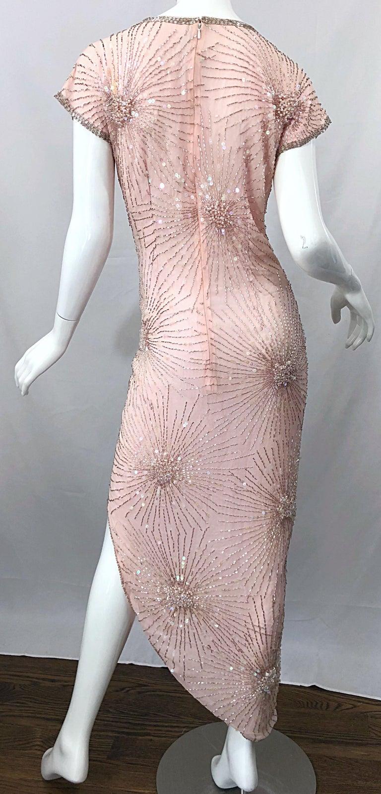 Vintage 70s Lillie Rubin Firework Pale Pink Silk Bead Sequin Asymmetrical Dress For Sale 6