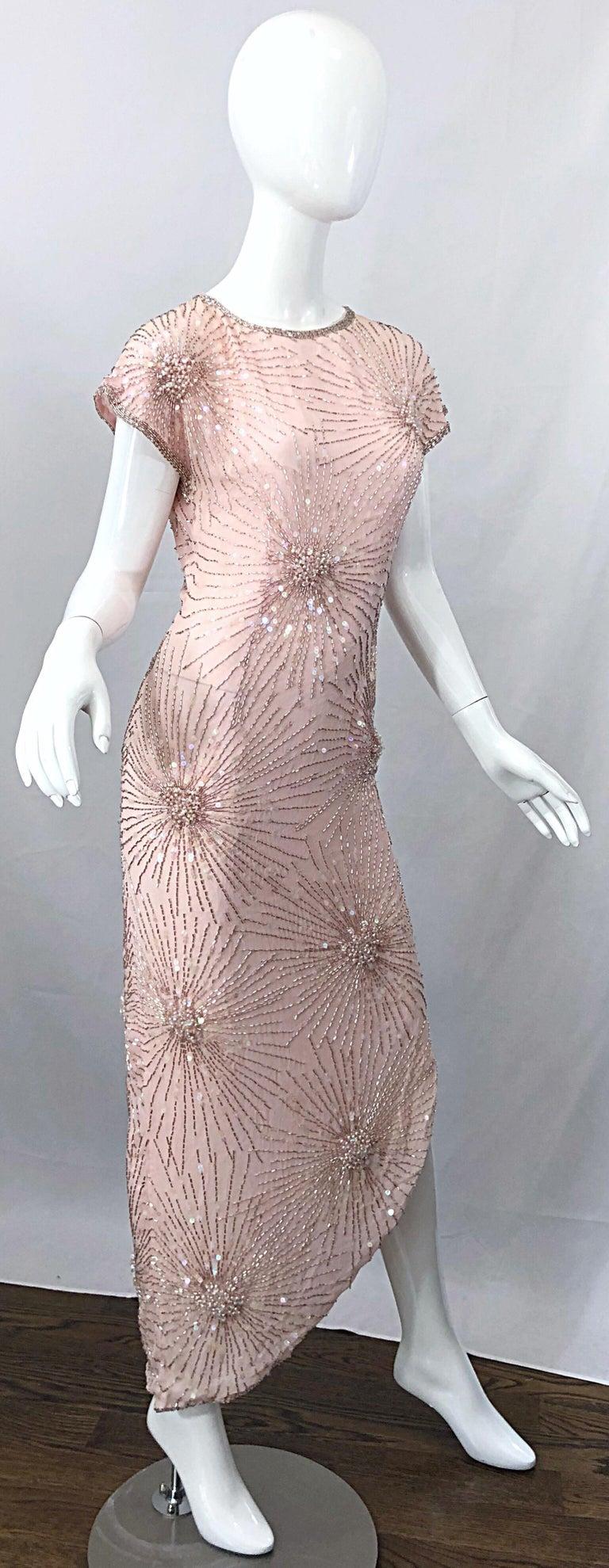 Vintage 70s Lillie Rubin Firework Pale Pink Silk Bead Sequin Asymmetrical Dress For Sale 7