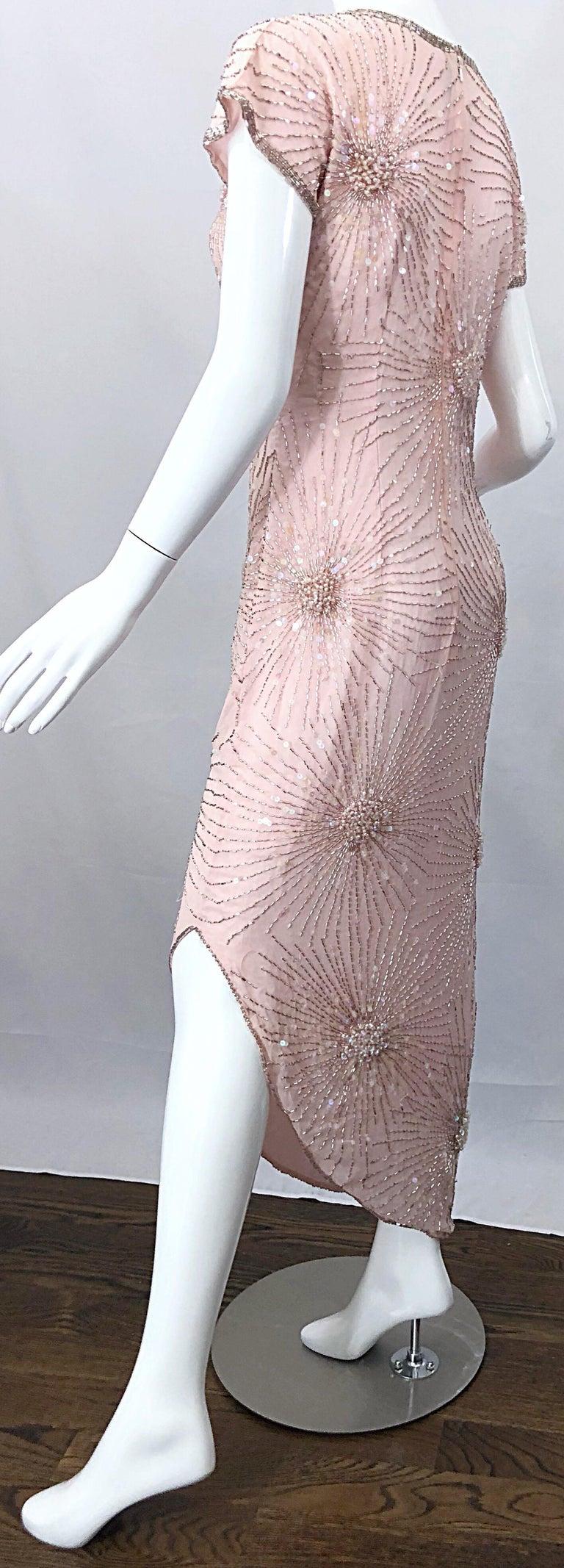 Vintage 70s Lillie Rubin Firework Pale Pink Silk Bead Sequin Asymmetrical Dress For Sale 8