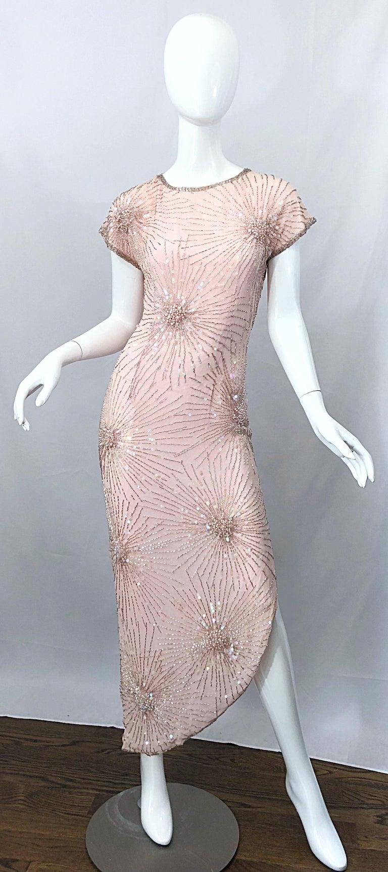 Vintage 70s Lillie Rubin Firework Pale Pink Silk Bead Sequin Asymmetrical Dress For Sale 9