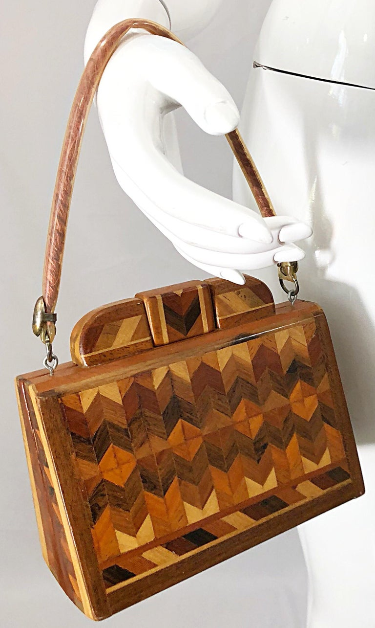 b5c2f3e71d Brown Chic 1960s Wood Patchwork Novelty Egyptian Triangular Purse Vintage  60s Hand Bag For Sale