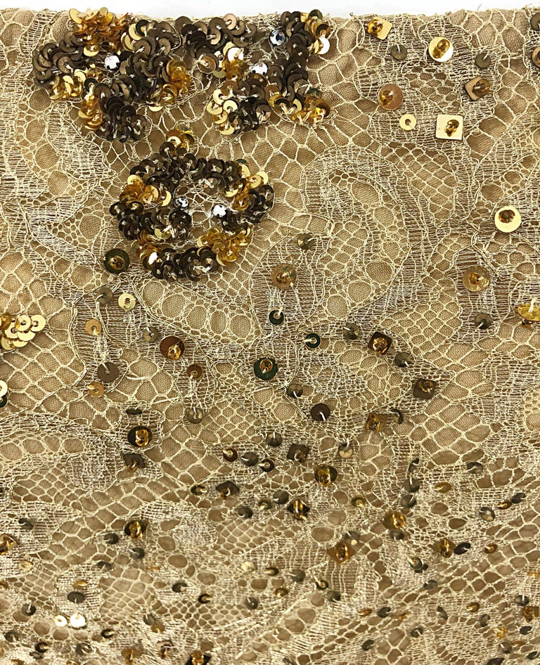 Brown 1990s Badgley Mischka Size 10 / 12 Gold Lace Sequins and Beads Vintage 90s Top For Sale