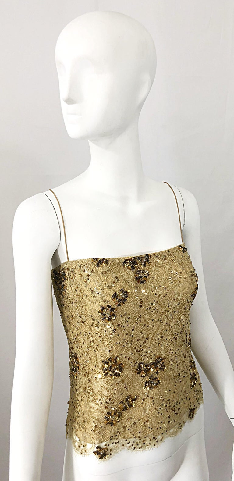 1990s Badgley Mischka Size 10 / 12 Gold Lace Sequins and Beads Vintage 90s Top In Excellent Condition For Sale In Chicago, IL