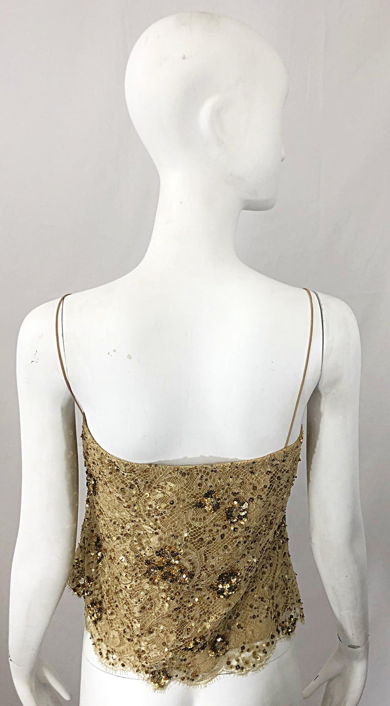 Women's 1990s Badgley Mischka Size 10 / 12 Gold Lace Sequins and Beads Vintage 90s Top For Sale