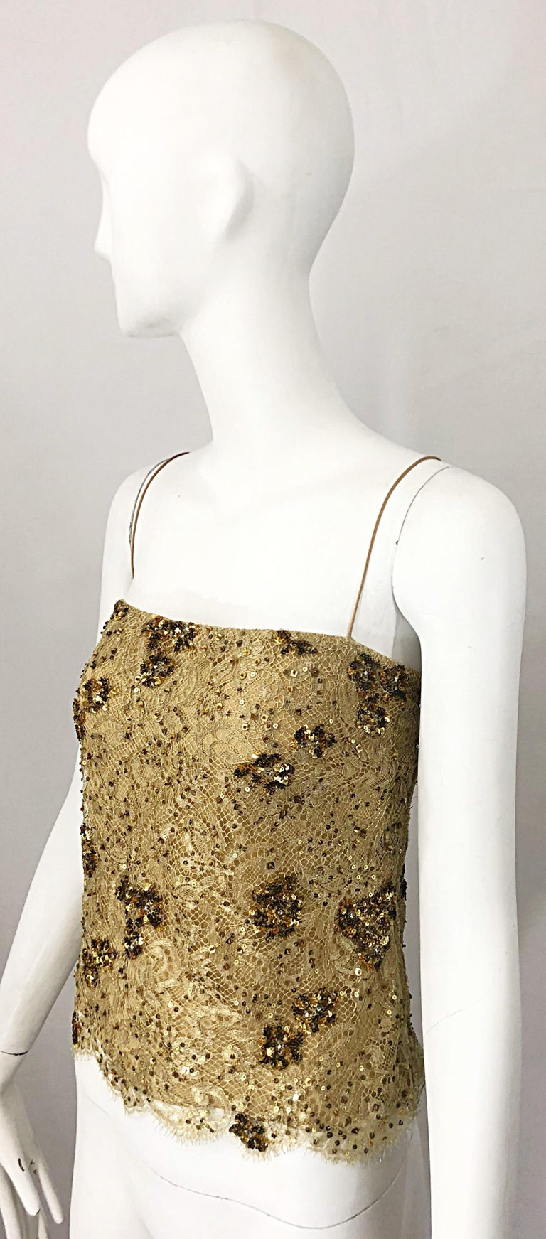 1990s Badgley Mischka Size 10 / 12 Gold Lace Sequins and Beads Vintage 90s Top For Sale 1