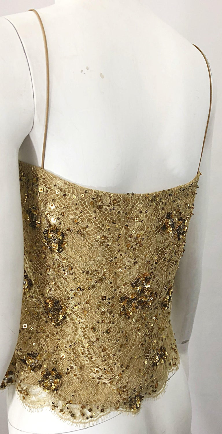 1990s Badgley Mischka Size 10 / 12 Gold Lace Sequins and Beads Vintage 90s Top For Sale 2