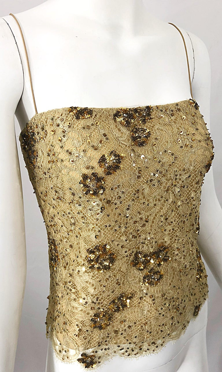 1990s Badgley Mischka Size 10 / 12 Gold Lace Sequins and Beads Vintage 90s Top For Sale 3