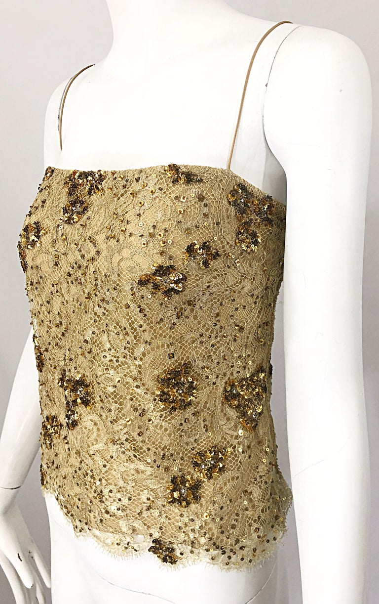 1990s Badgley Mischka Size 10 / 12 Gold Lace Sequins and Beads Vintage 90s Top For Sale 5