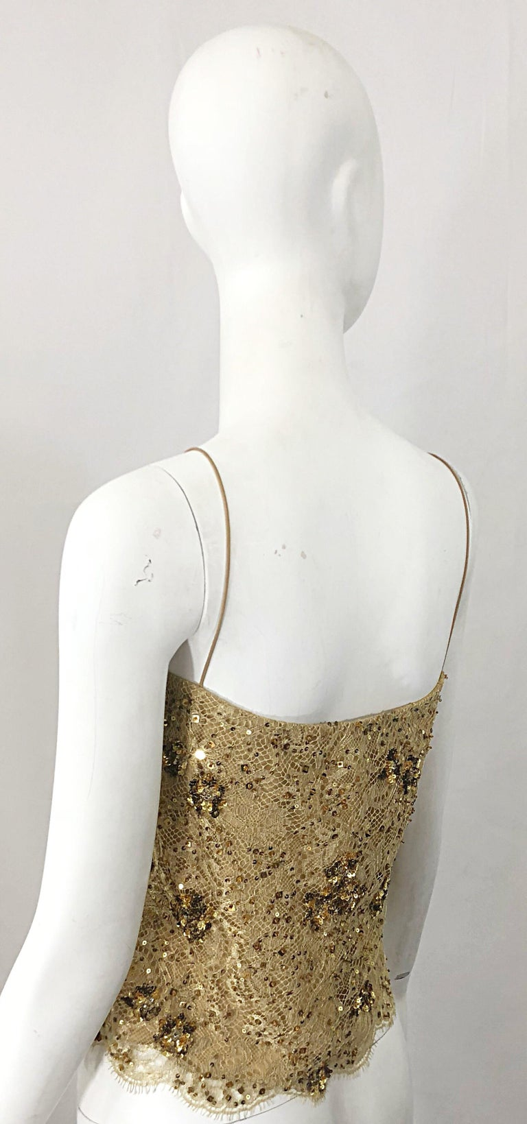 1990s Badgley Mischka Size 10 / 12 Gold Lace Sequins and Beads Vintage 90s Top For Sale 6