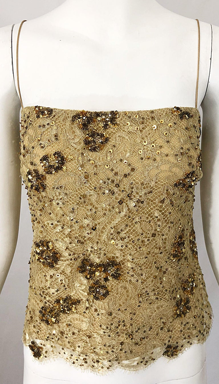 1990s Badgley Mischka Size 10 / 12 Gold Lace Sequins and Beads Vintage 90s Top For Sale 7
