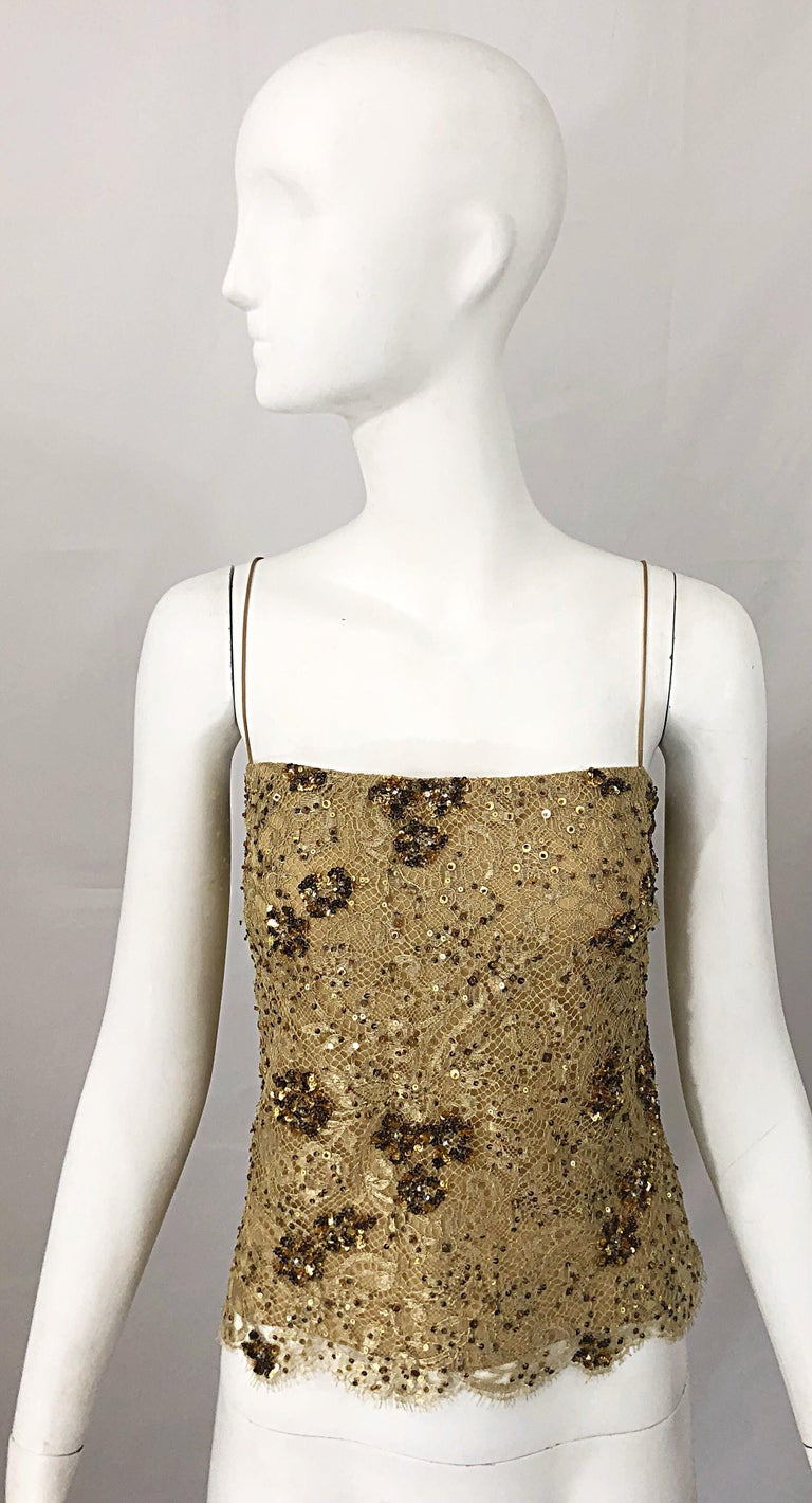 1990s Badgley Mischka Size 10 / 12 Gold Lace Sequins and Beads Vintage 90s Top For Sale 9