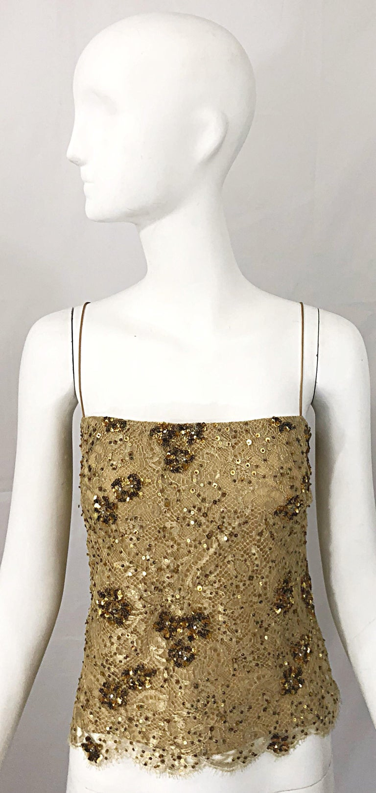 1990s Badgley Mischka Size 10 / 12 Gold Lace Sequins and Beads Vintage 90s Top For Sale 10