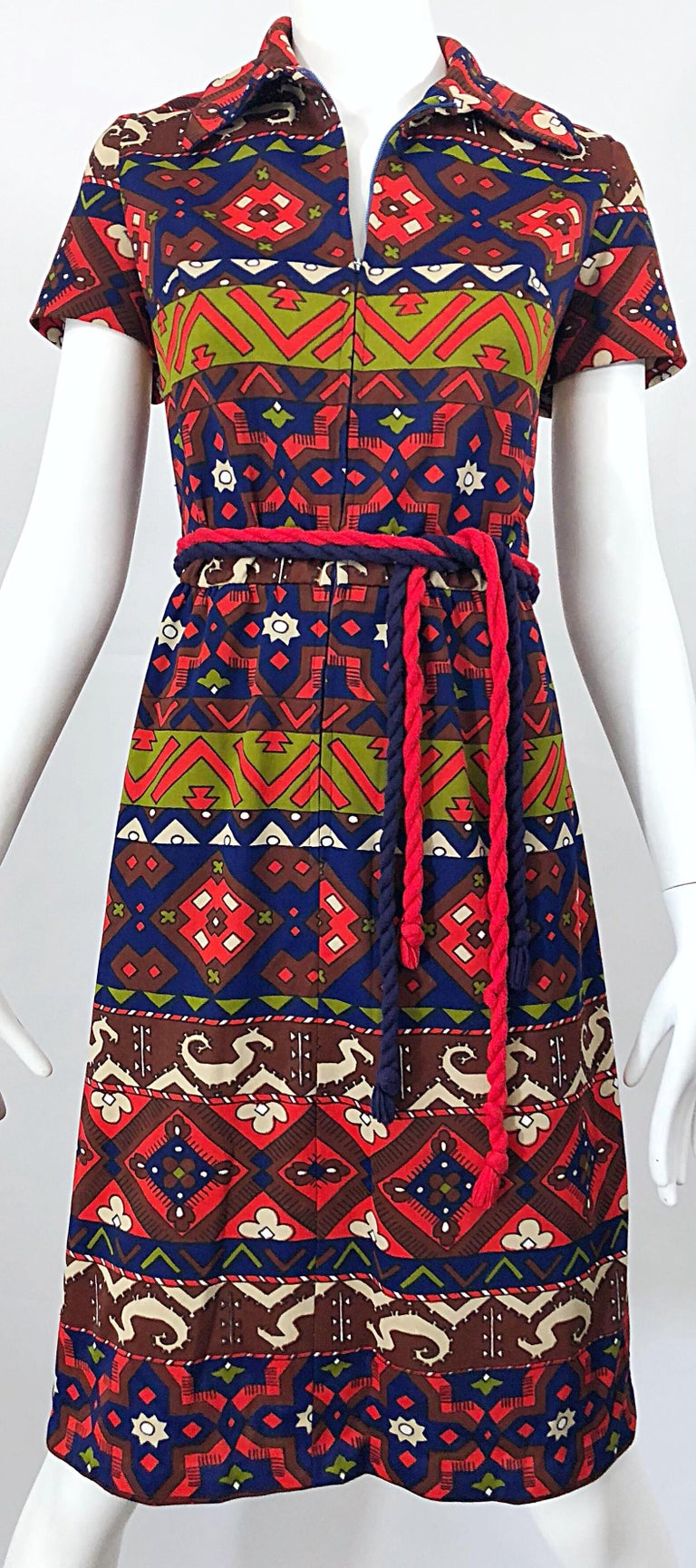 1970s Aztec Novelty Print Amazing Vintage 70s Knit Rope Belted Shirt Dress For Sale 4