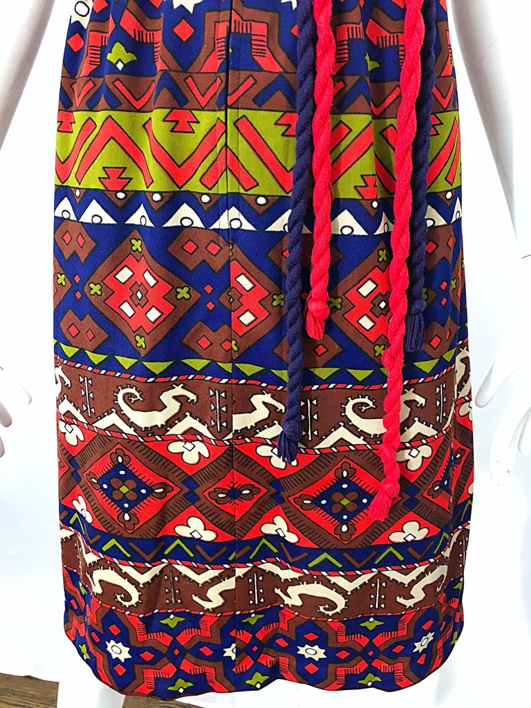 1970s Aztec Novelty Print Amazing Vintage 70s Knit Rope Belted Shirt Dress For Sale 6