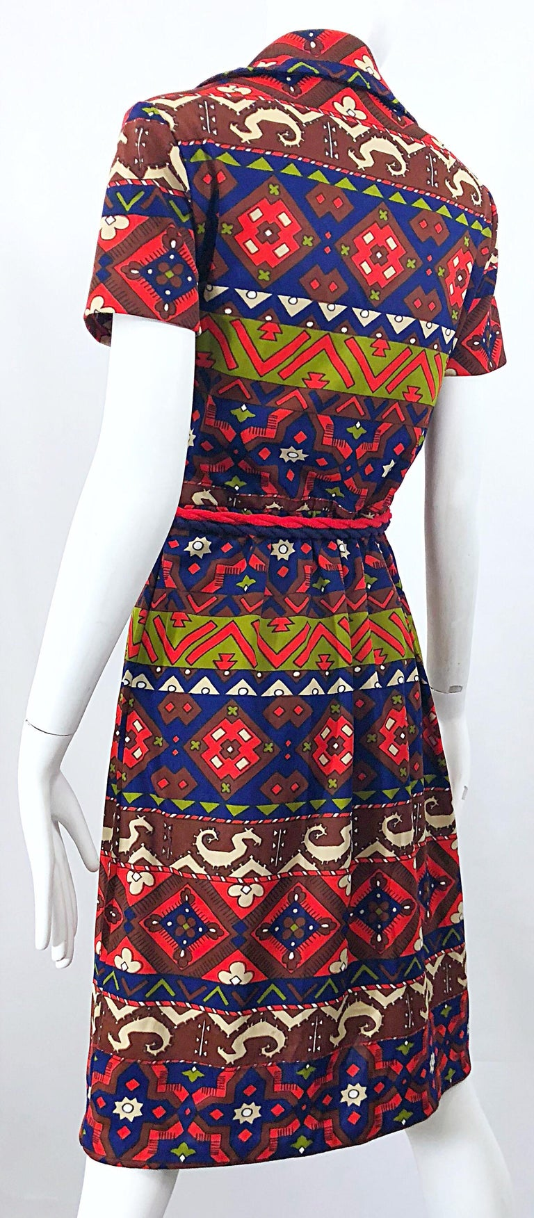 1970s Aztec Novelty Print Amazing Vintage 70s Knit Rope Belted Shirt Dress For Sale 7
