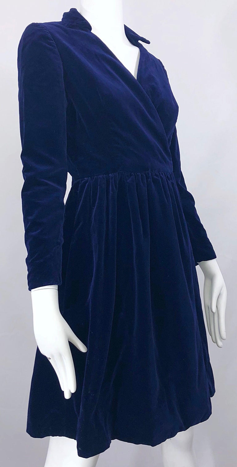 1950s Adele Simpson Navy Midnight Blue Velvet Vintage 50s
