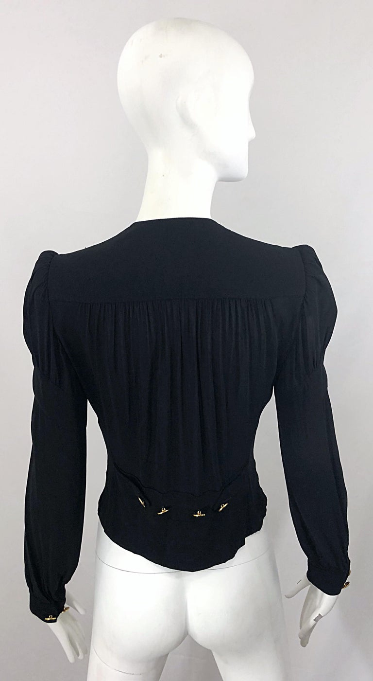 Vintage Donna Karan Collection 1990s Black Size 2 / 4 Puff Sleeve Shirt Jacket In Excellent Condition For Sale In Chicago, IL