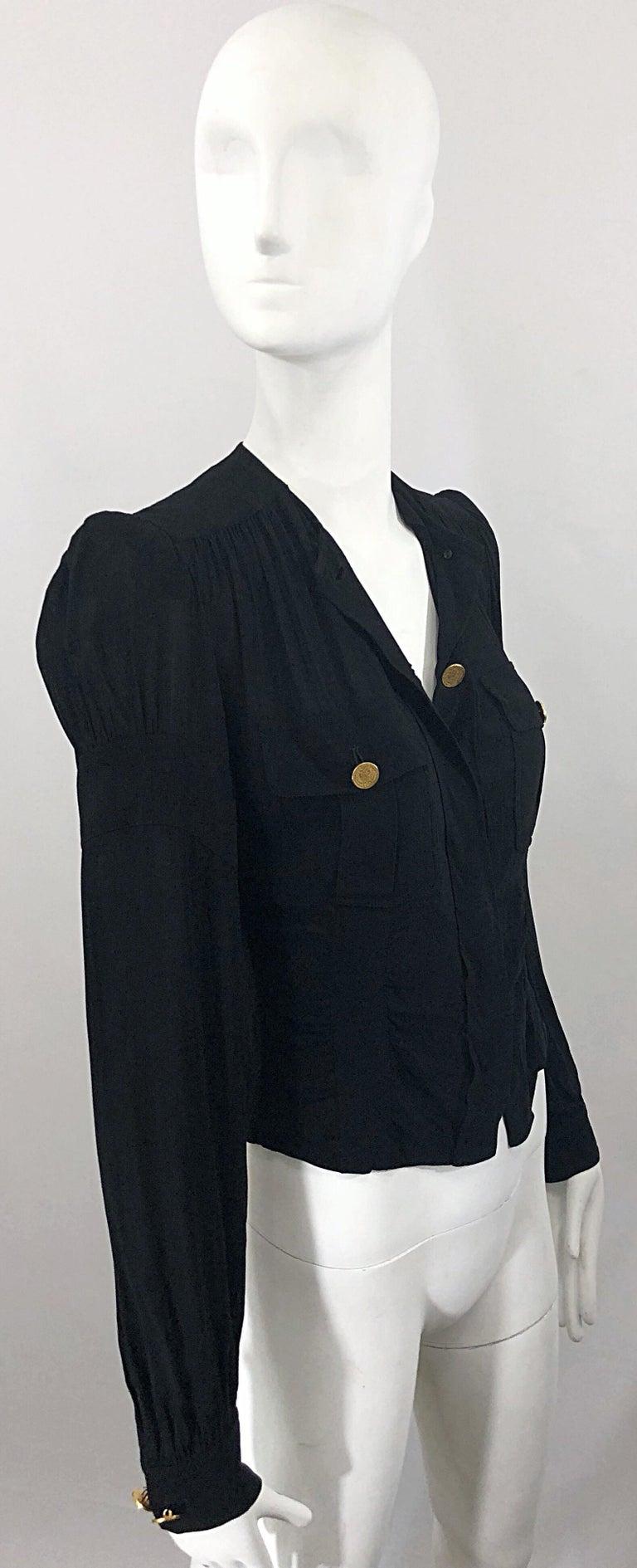 Women's Vintage Donna Karan Collection 1990s Black Size 2 / 4 Puff Sleeve Shirt Jacket For Sale